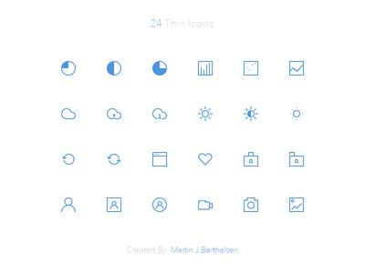 24 Free Thin Icons PSD v2