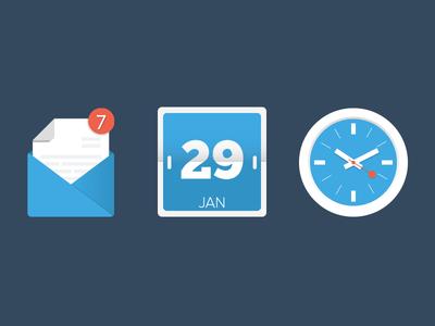 Flat Clock,Calendar, Mail Vector icons (ai)