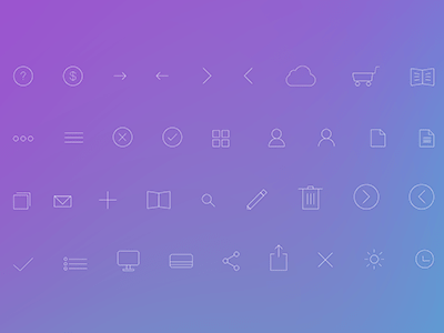 Flat ios7 Line Icons Set