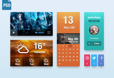 UI Kit PSD:Video,Weather,Calendar