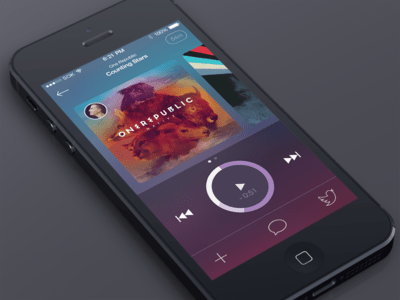 iOS7 iPhone Music Player PSD