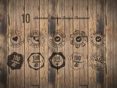 10 Badges PSD Free Download