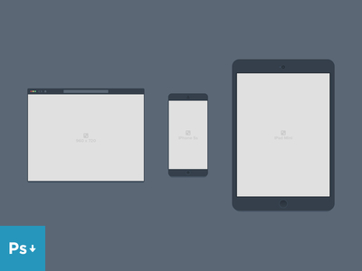 Containers Mockup PSD: Browser, iPhone and iPad