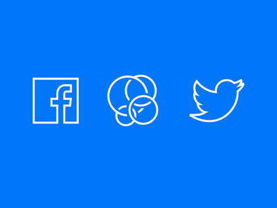 Facebook &Twitter Social Icons Vector