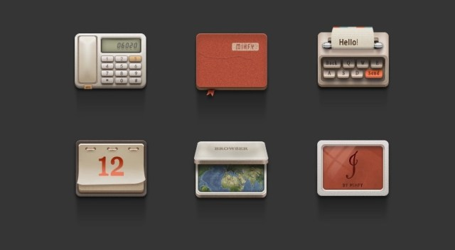 Icons PSD Photo,frame,calendar,typewriter,telephone,notebook