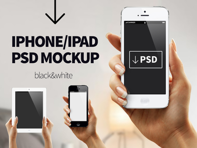 Iphone Ipad Hand Mockup PSD (Black & White)
