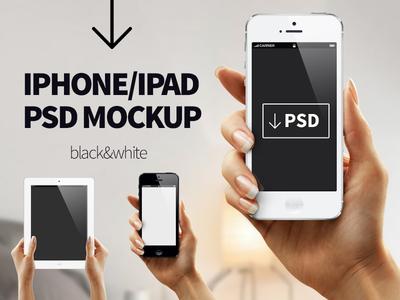 Iphone Ipad Hand Mockup PSD(Black & White)