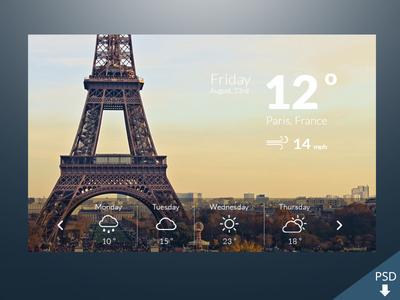 PSD Weather Widget Design Inspiration