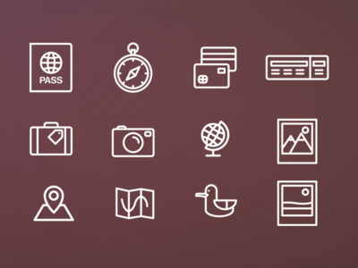 Vector Travel icons Pack Free Download
