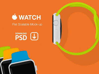 Apple Watch Flat Scalable Mockup PSD Download