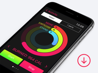 PSD Apple watch activity app for iphone 6