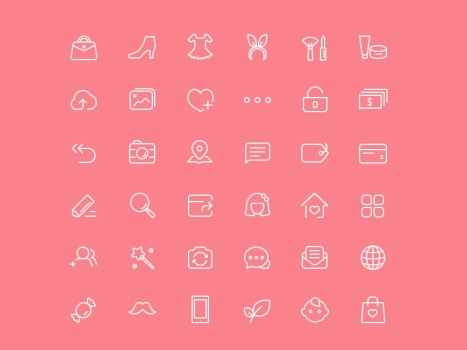 Female Shopping Icon Set PSD
