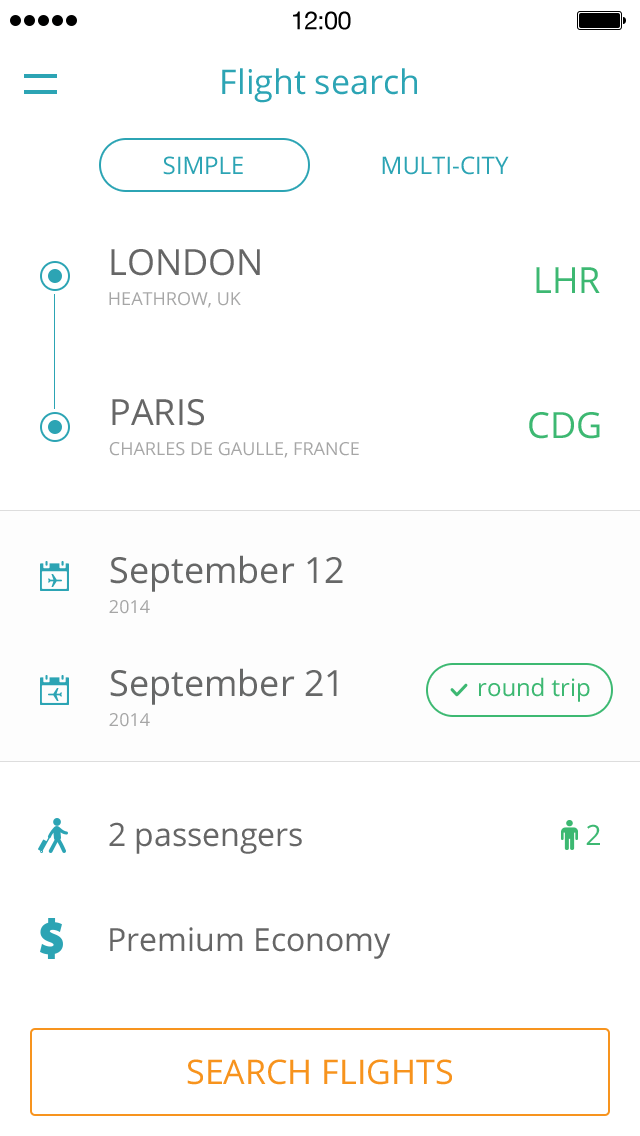 Flight Search App UI Design PSD 1