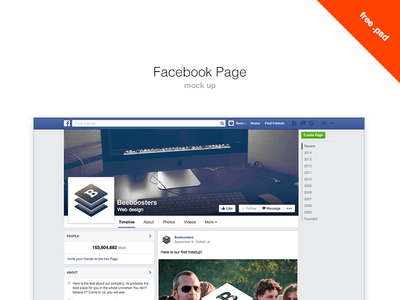 Free Facebook Page mock up PSD