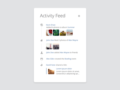 Free PSD Activity Feed – Social Widget
