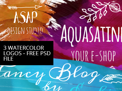 Free Watercolor logos PSD File