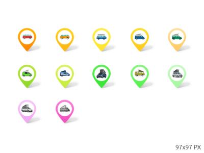 Pins Icons Set PSD