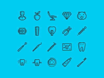 20 free dental icons vector psd