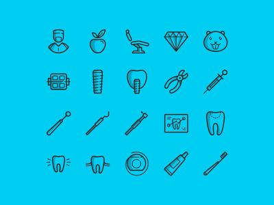 20 free dental icons vector psd