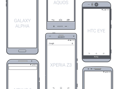 Android phone vector illustrations