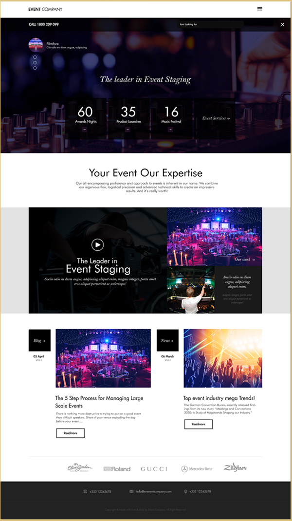 EVENT COMPANY Website - Free PSD Mockup Template Download