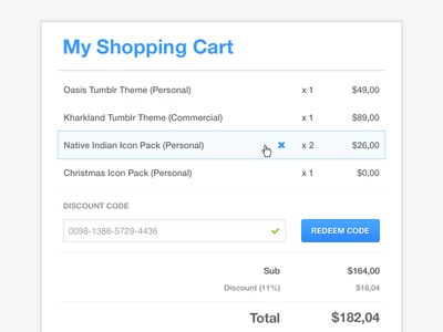Shopping Cart UI Design PSD