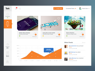 Task PSD Template – Project Management Tool Concept Design
