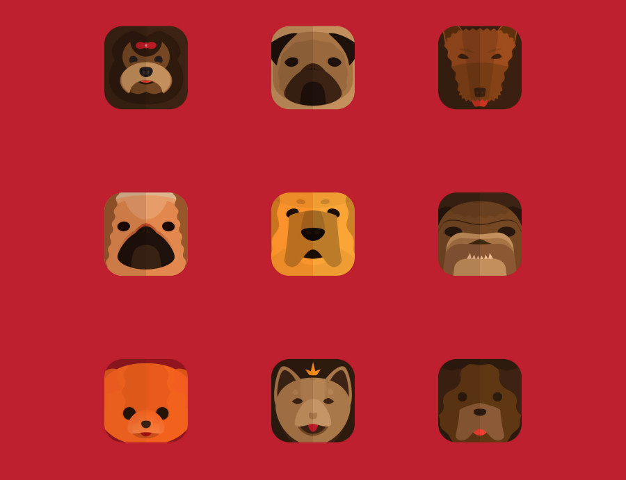 Free Vector Dogs Icons Set (ai+eps)