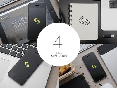 iPhone,iPad,Notebook 4 Free Mockups PSD