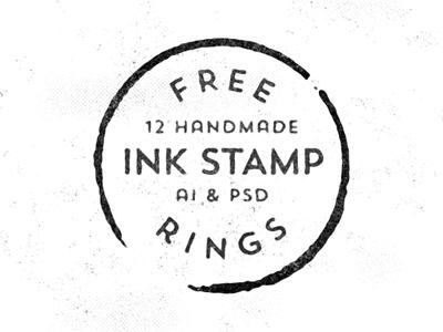 12 Handmade Ink Stamp Rings PSD ai