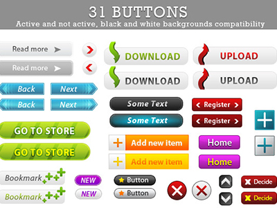 31 Free Buttons For Web Design