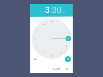 Android Lollipop 5 Time Picker Free PSD
