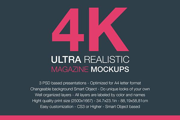 Free 4K Magazine Mockup PSD Template