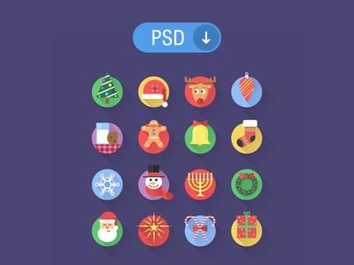 PSD : 16 flat Christmas icons
