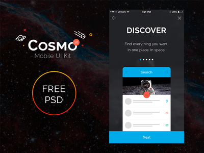 Cosmo Mobile UI Kit sample PSD