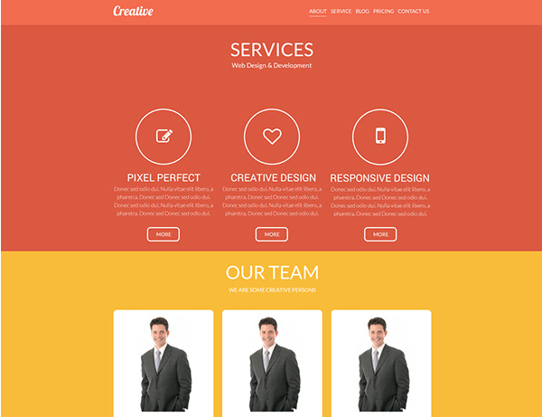 Creative One Page Website PSD Template Design