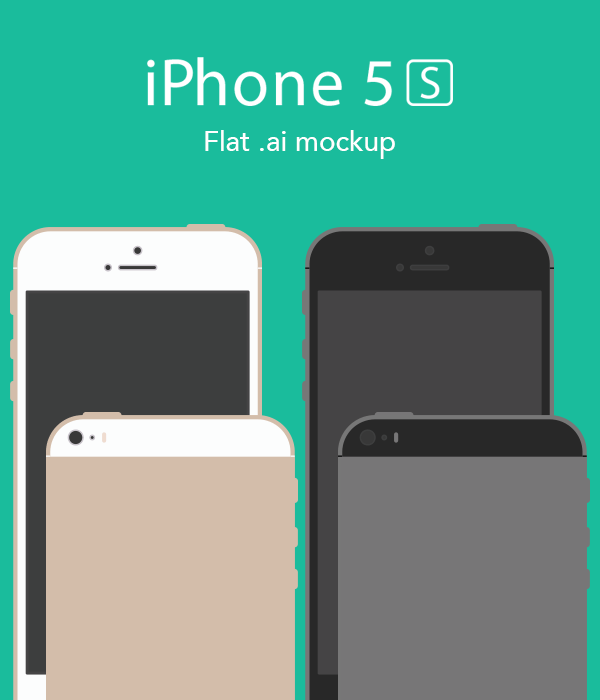 Flat iPhone 5s Mockup Vector AI
