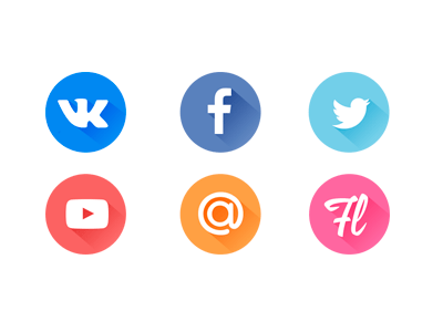 Free Flat Social Icons PSD