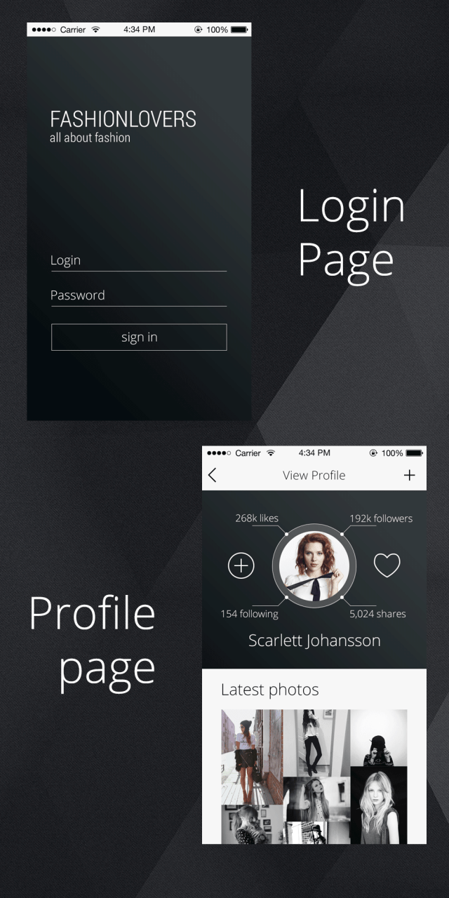 Free PSD Profile page for an iPhone App