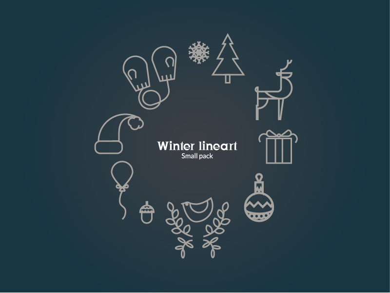 Vector Winter Line Icon Set Free Download