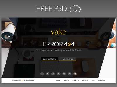Yake 404 Error Page UI Design (2 Theme) PSD