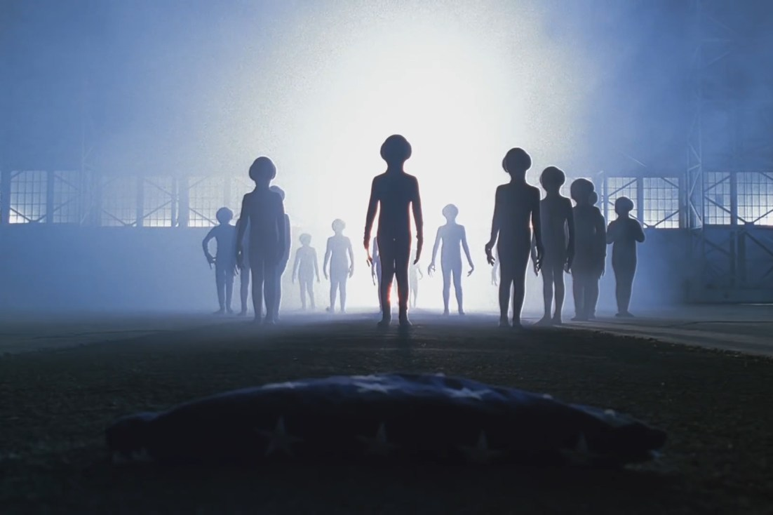 Aliens in silhouette, screencap from The X-Files
