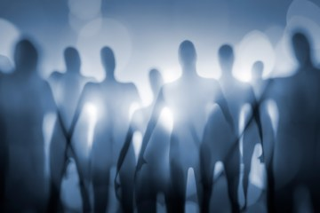 Shadowy ghost-like entities in silhouette