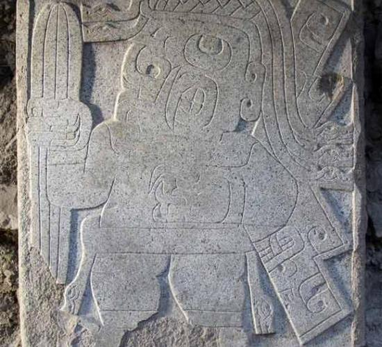 Chavin sculpture showing psychedelic San Pedro cactus