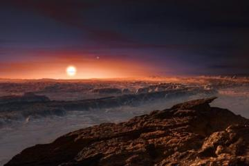 Artist's impression of the view from Proxima b