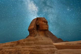 Sphinx at night with Milky Way