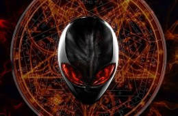 Alien head over occult background