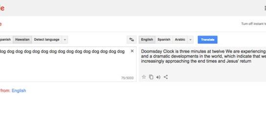 Google Translate glitch translating dog into End Times message