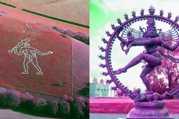 Cerne Abbas Giant and Shiva at CERN (CCASA licences, Pete Harlow and Arpad Horvath respectively)