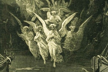 Gustav Dore illustration of spirits/angels/ghosts from Rime of the Ancient Mariner
